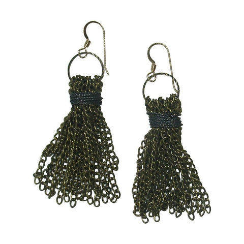 Antiqued Brass & Gun Metal Tassel Earrings