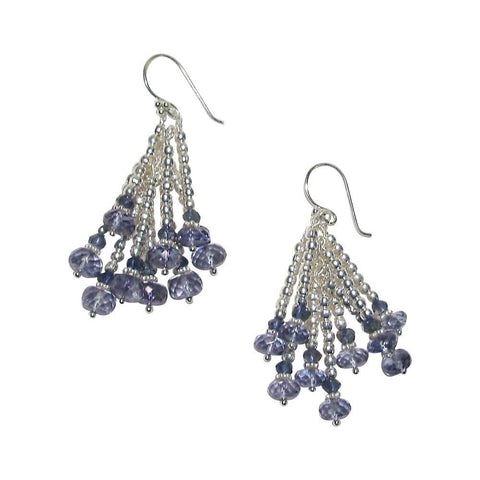 Iolite, Silver Plate & Sterling Silver Earrings