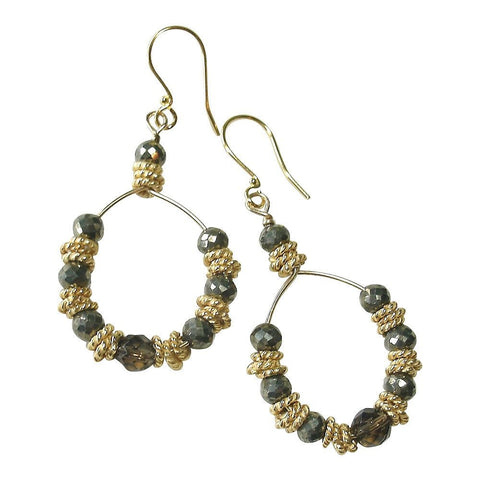 Pyrite, Smokey Quartz, Vermeil, 22kt Gold Plate & 14kt Gold Fill Hoop Earrings