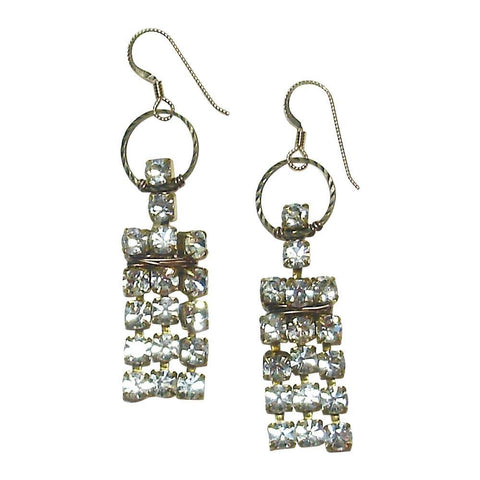 Rhinestone, Brass & 14kt Gold Fill Earrings