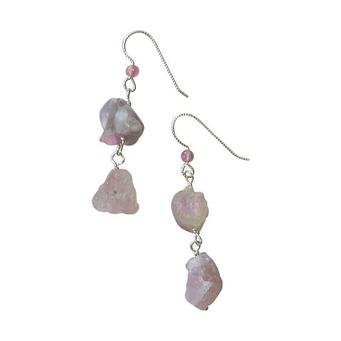 Rough Pink Tourmaline & Sterling Silver Earrings