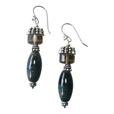 Tiger Eye, Smokey Quartz & Sterling Silver Earrings