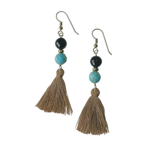 Turquoise, Onyx, Brass, Gold Fill & Cotton Tassle Earrings