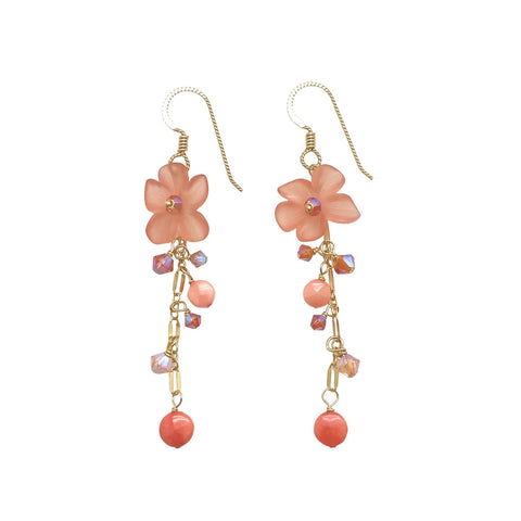 Vintage Coral Lucite Earrings