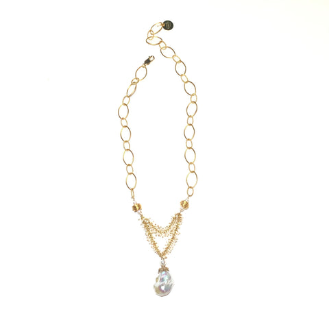 Baroque Pearl and Gold Necklace