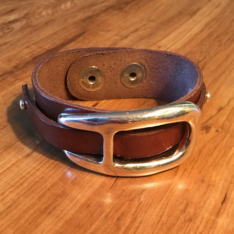 Brown Leather & Silver Plate Cuff Bracelet