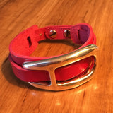 Red Leather and Silver Plate Cuff Bracelet