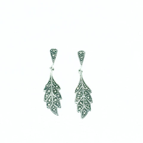 Marcasite and Silver Leaf Earrings