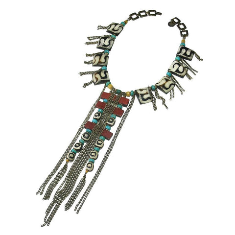 African Bone, Turquoise & Leather Necklace