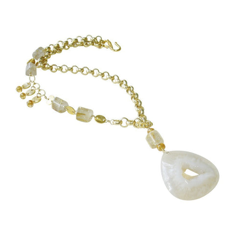 Agate Drusy, Citrine, Rutilated Quartz & Gold Necklace