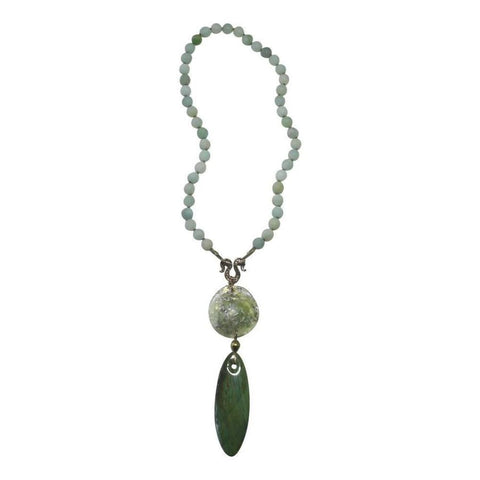 Amazonite, Larsonite & Ancient Roman Glass Necklace
