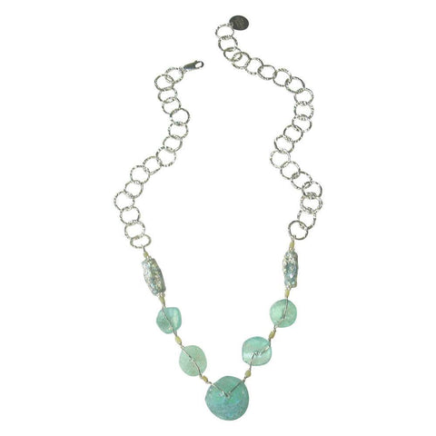 Patina Colored Glass & Silver Necklace