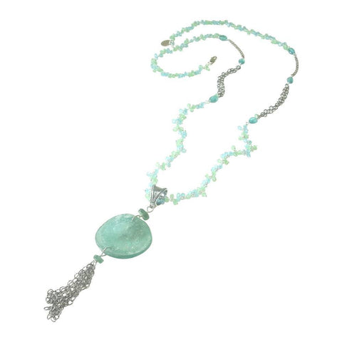Soft Blue Glass Pendant with Oxidized Silver Chain Tassel