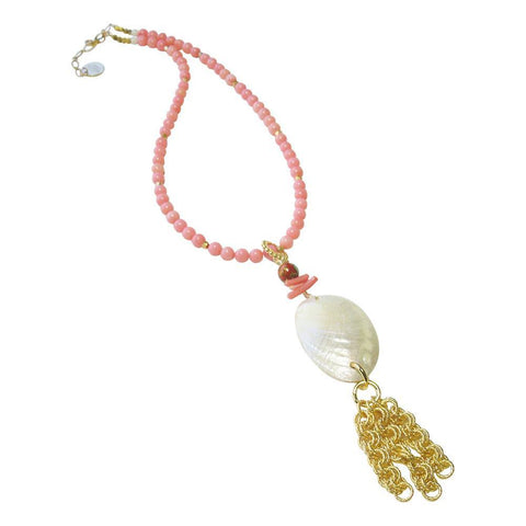 Coral, Shell, 22kt Gold Plate & Vermeil Necklace