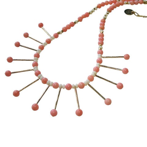 Coral, Vermeil & 22 kt Gold Plate Necklace