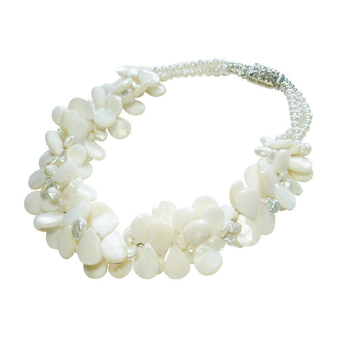 Freshwater Pearl, Mother-of-Pearl & Sterling Silver Necklace
