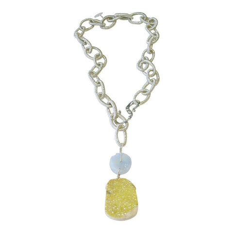 Yellow Drusy, Chalcedony, & Nylon Chain Lariat Necklace