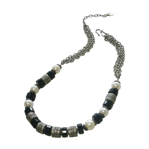 Onyx, Freshwater Pearl & Silver Necklace