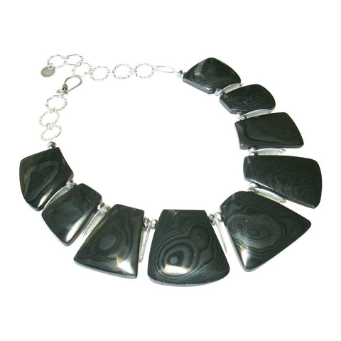 Psilomelane & Sterling Silver Necklace