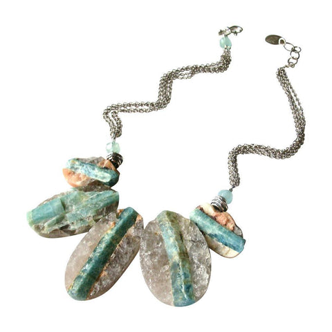 Raw Aquamarine & Oxidized Sterling Silver Necklace