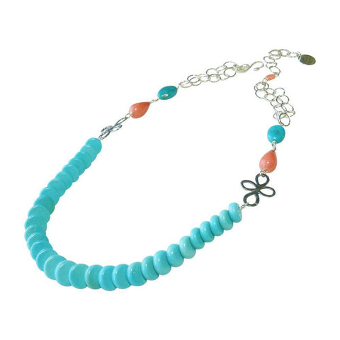 Sleeping Beauty Turquoise, Coral & Silver Necklace