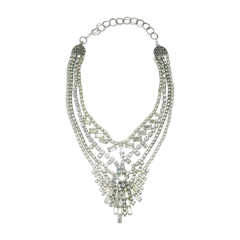 Vintage Rhinestone & Oxidized Sterling Silver Necklace