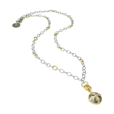 White Topaz, Oxidized Sterling Silver & Gold Necklace