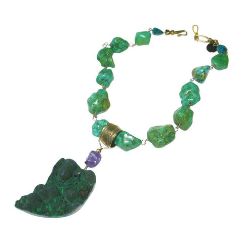 Yellow Turquoise with Azurite and Malachite Drusy Necklace