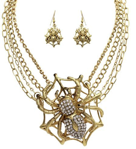 Spider Necklace And Earring Set, Gold