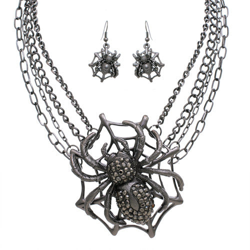 Spider Necklace And Earring Set, Hematite