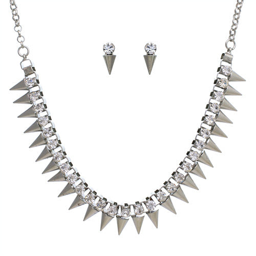 Spike Necklace Set, Silver