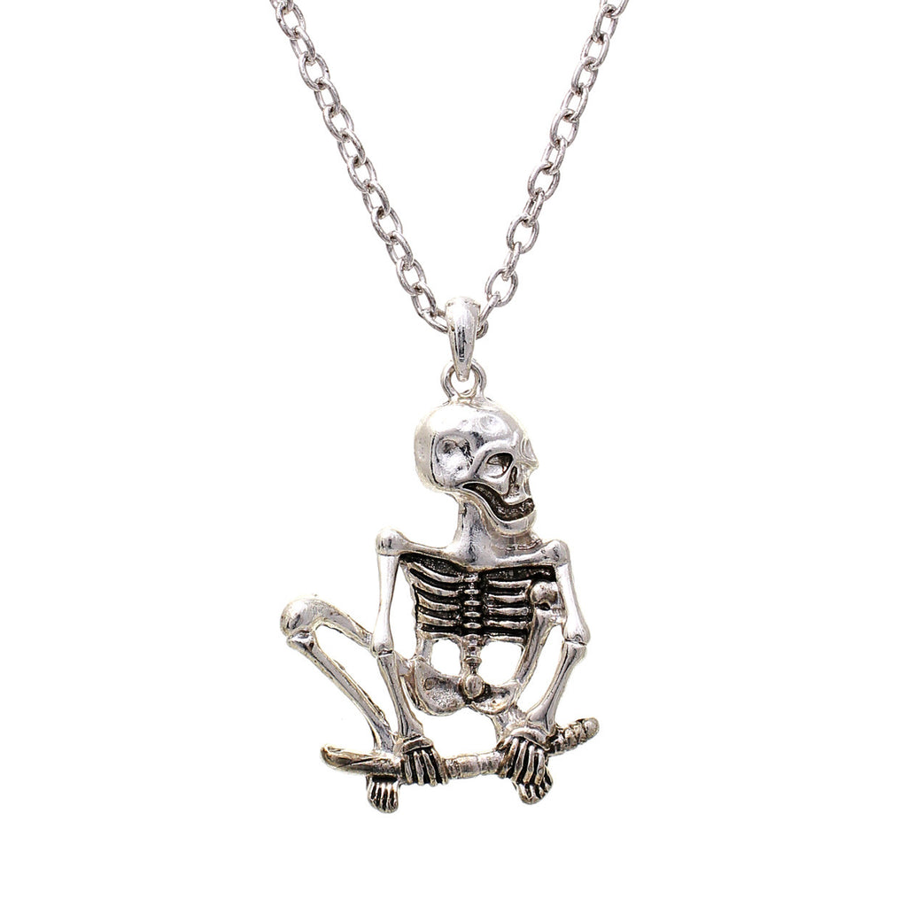 Skeleton Halloween Necklace, Silver