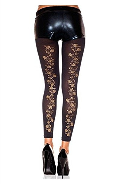 Gold Floral Pantyhose