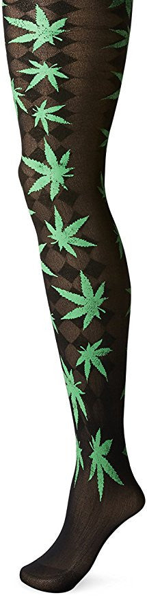 Marijuana Leaf Opaque Pantyhose