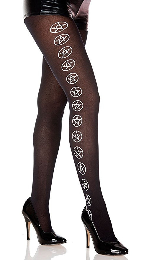 White Star Graphic Pantyhose