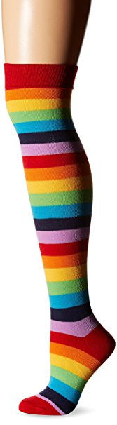 Rainbow Colored Graphic Thigh High