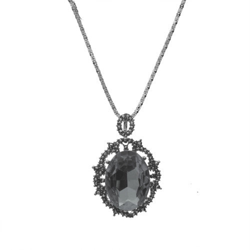 Oval Rhinestone Glass Necklace, Black Diamond
