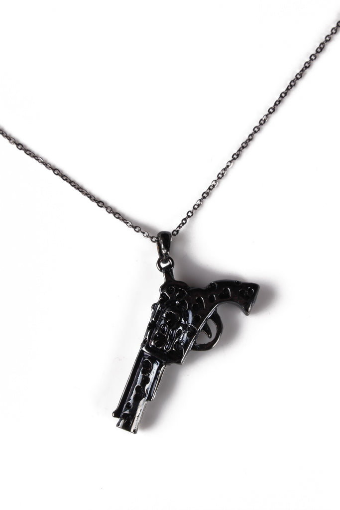 Necklace With Gun Pendant, Gray