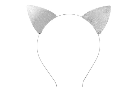 Silver Cat Ears on Thin Wire Headband