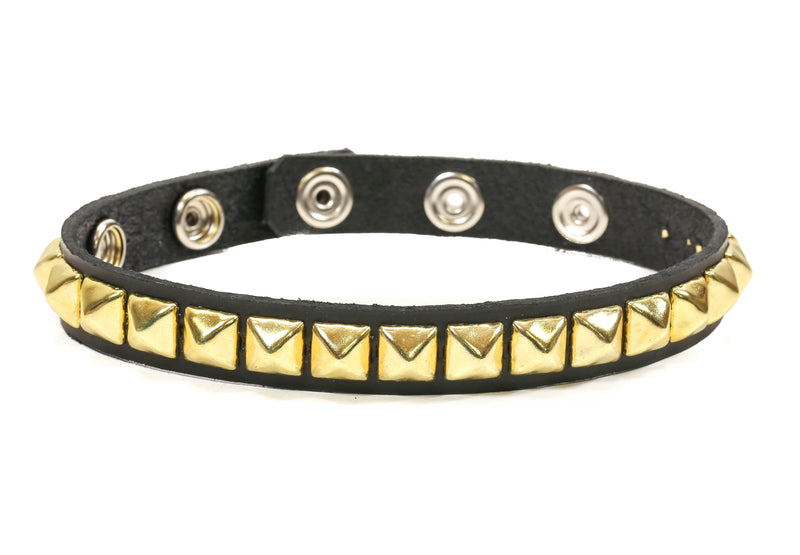 Gold Stud 1 Row Black Studded Leather Armlet Armband
