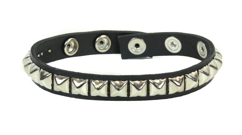 Single Row Silver Studded Leather Armlet Armband