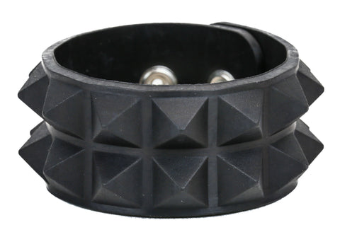 "ASSORTED RUBBER, 2 ROW 1/2"" PYRAMID BRACELET, GLOW IN THE DARK"