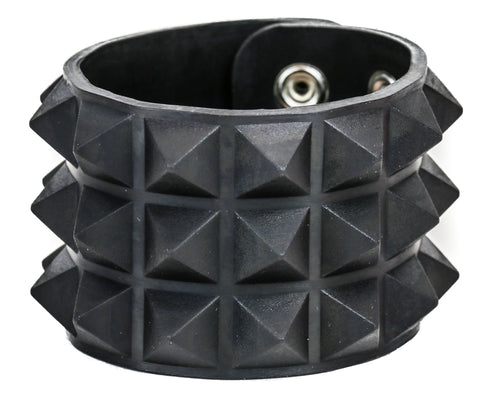 "ASSORTED RUBBER, 3 ROW 1/2"" PYRAMID BRACELET,  GLOW IN THE DARK"