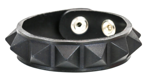 "ASSORTED RUBBER, 1 ROW 1/2"" PYRAMID BRACELET, GLOW IN THE DARK"