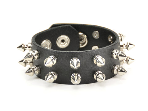 "SNAP BRACELET WITH 2 ROW 1/2""  SPIKES, 1"" WIDE"