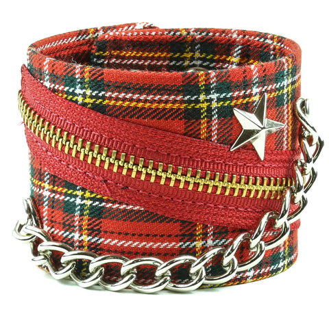 "ASSORTED PLAID BRACELET WITH STAR STUD, CHAIN & ZIPPER, 2 1/2"" WIDE"