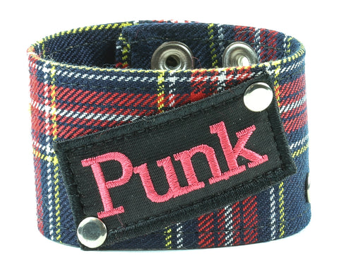 "ASSORTED PLAID COLOR BRACELET WITH REBEL PATCH & STAR STUD, 1 3/4"" WIDE"