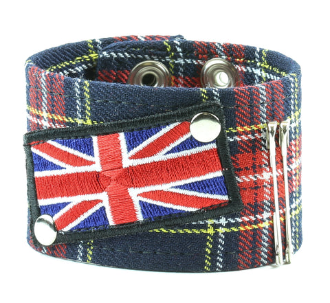 "ASSORTED PLAID BRACELET WITH UNION JACK PATCH & SAFTY PIN, 1 3/4"" WIDE"