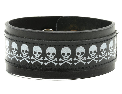 "ASSORTED SKULL PRINTED BRACELET, 1 1/4"" WIDE"