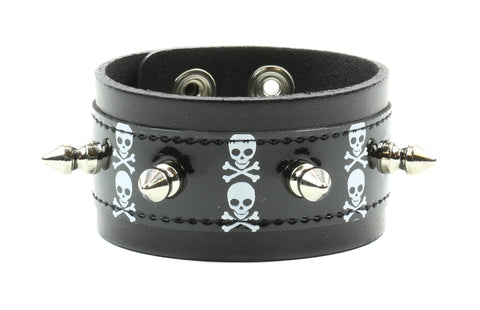 "ASSORTED SKULL PRINTED BRACELET WITH SPIKES, 1 1/2"" WIDE"